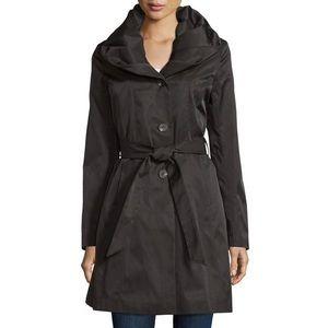 T Tahari Callie Black Shawl Collar Trench Coat XS